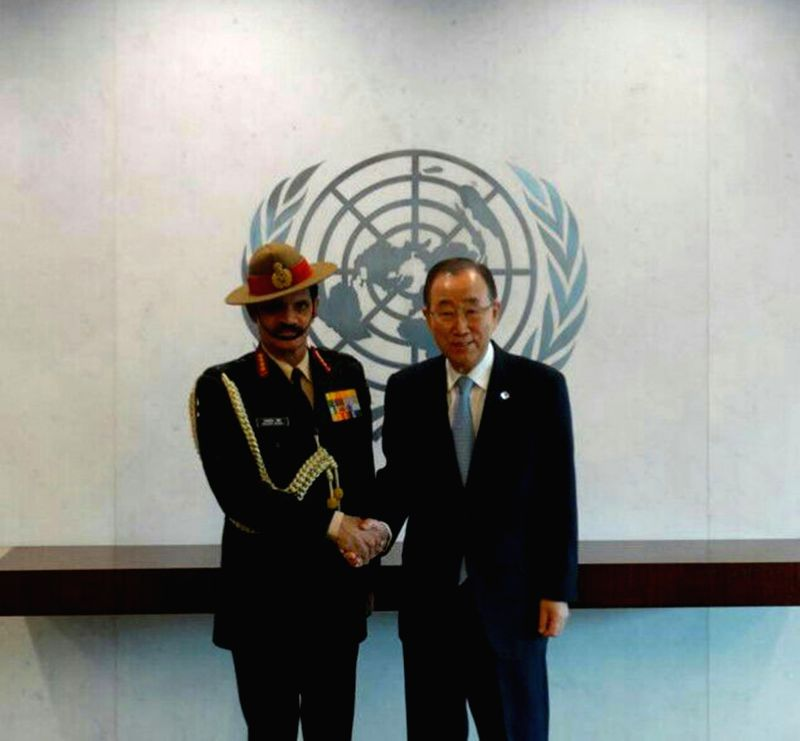 Army Chief Gen Dalbir Singh calls on United Nations Secretary General, Ban Ki-moon at United Nations.