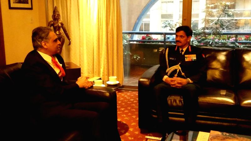 Army Chief Gen Dalbir Singh interacts with India's Permanent Representative to the UN Ambassador Syed Akbaruddin at United Nations.