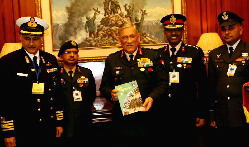 Army Chief General Bipin Rawat commemorates Armed Forces Flag Day in New Delhi on Dec 7, 2017. Also seen Kendriya Sainik Board Secretary Brig. M.H. Rizvi and other officers.
