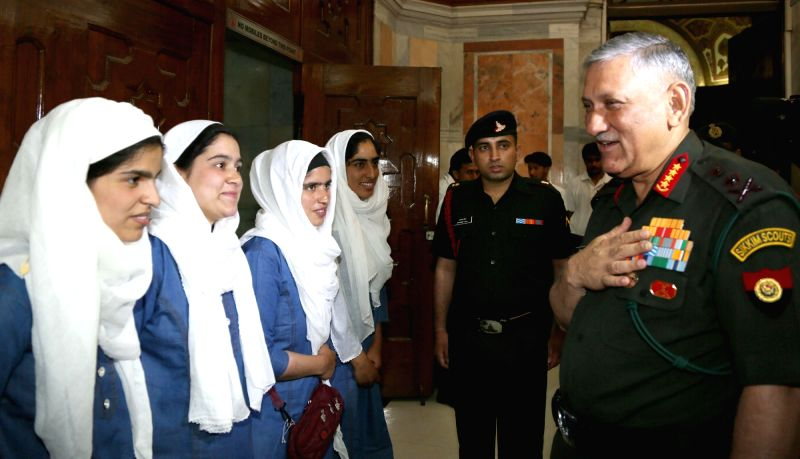 Army Chief General Bipin Rawat interacts with the students of Super-40 from Kashmir, in New Delhi on June 13, 2017.