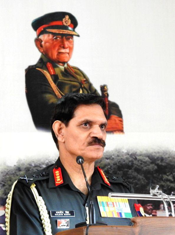 Army Chief General Dalbir Singh addresses during the veterans rally at Madikeri in Kodagu district of Karnataka on Aug. 6, 2016.