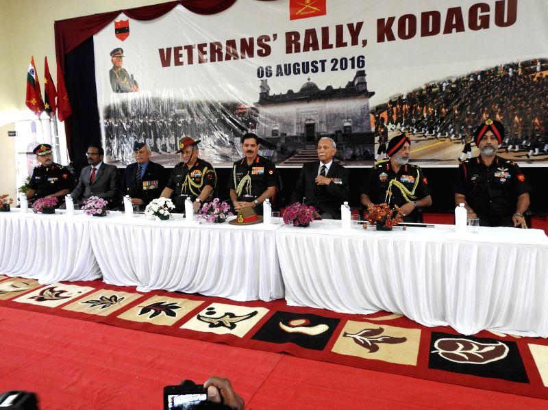 Army Chief General Dalbir Singh during the veterans rally at Madikeri in Kodagu district of Karnataka on Aug. 6, 2016.