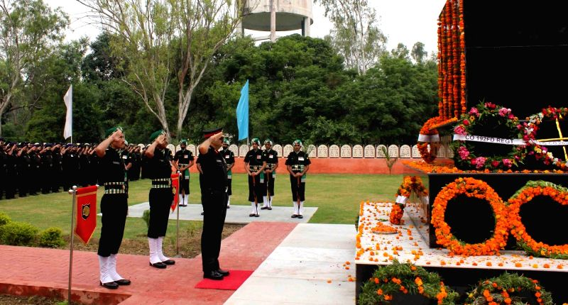 Army officals pay tribute to the soldiers who sacrificed their lives on the occasion of Kargil Vijay Diwas at Panther Inspiration Park in Amritsar, on July 26, 2016.