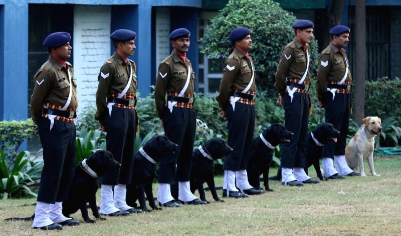 Army personnel with their dogs during a Dog show at India International Trade Fair(IITF) - 2015 at Pragati Maidan in New Delhi, on Nov 16, 2015.