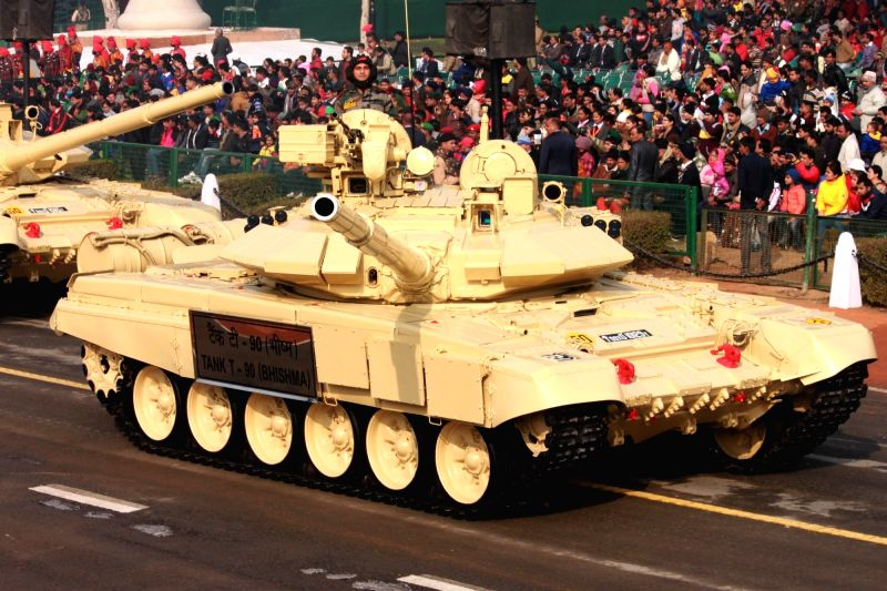 Army tank T - 90 (Bhishma) during full dress rehearsal for Indian Republic Day parade at Rajpath in New Delhi on Jan 23, 2016.