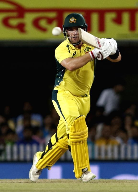 Aron Finch of Australia in action during the first T20 match between India and Australia at JSCA International Stadium in Ranchi on Oct 7, 2017.