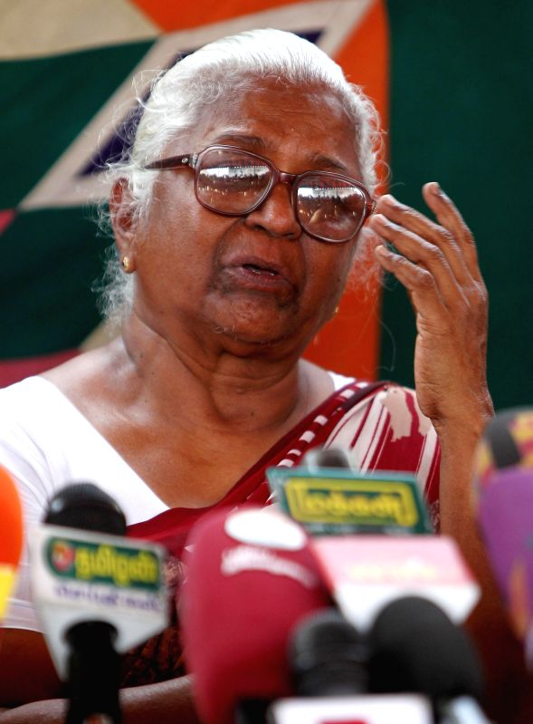 Arputhammal, mother of Perarivalan, one of the seven convicts in the Rajiv Gandhi assassination case during the press conference in Chennai on April 25, 2014.