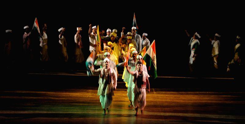 Artist of 'Rangapeeth' enact `20th September 1942`  - a drama at Pragjyoti ITA Center in Guwahati on Aug 12, 2014.
