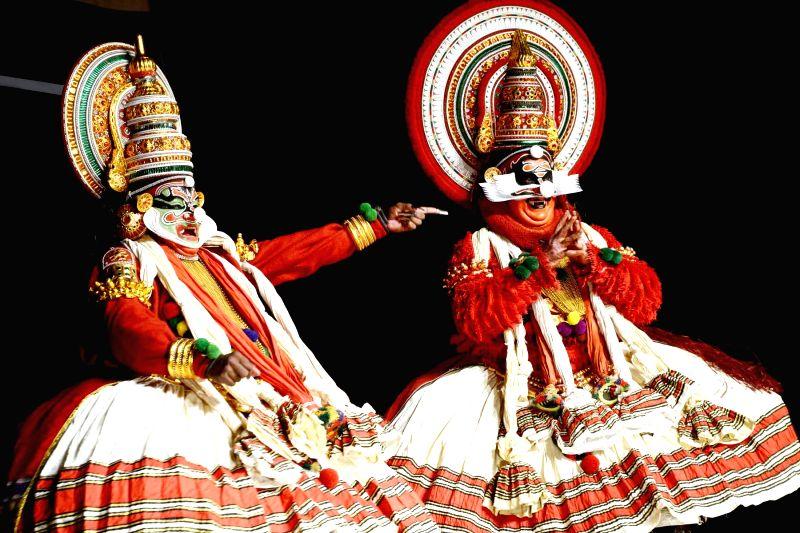 Artistes from Kerala performing during a Kathakali performance in Bengaluru on Jan. 27, 2015.