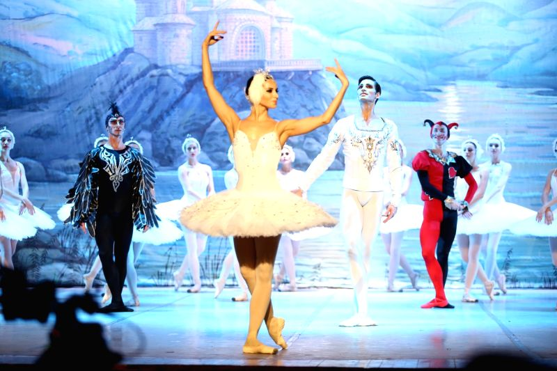 "Artistes of Russian ballet ""Swan Lake"" perform during at Siri Fort Auditorium in New Delhi on Sept 24, 2017."