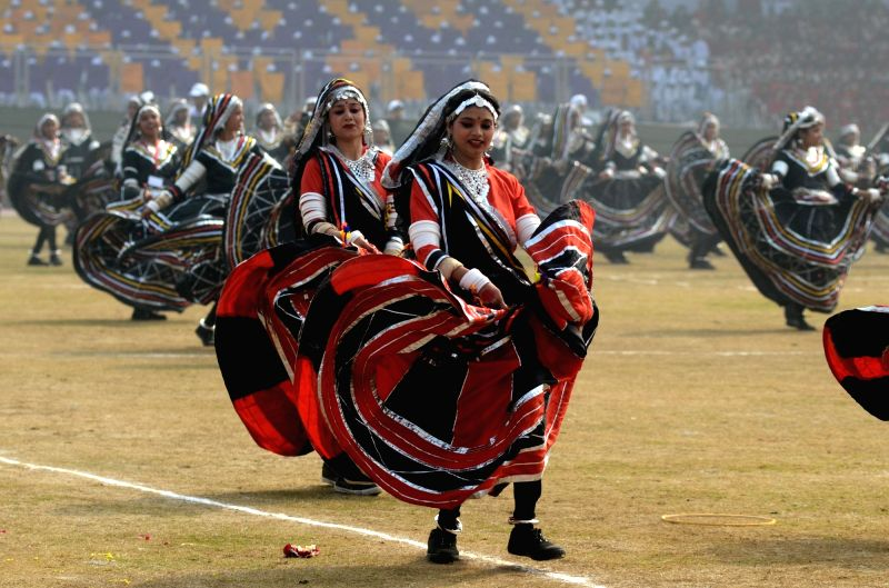 Artistes perform during Republic day celebrations in New Delhi