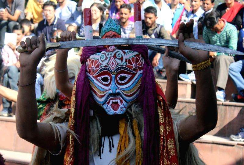 """Artists from Kinnaur participate in """"Him Rang Mahotsav-2017"""" at the open-air theatre in Shimla on May 5, 2017."""
