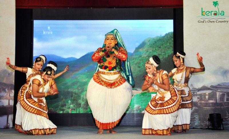 Artists perform during a cultural programme organised by Kerala Tourism in Gurgaon on July 26, 2016.