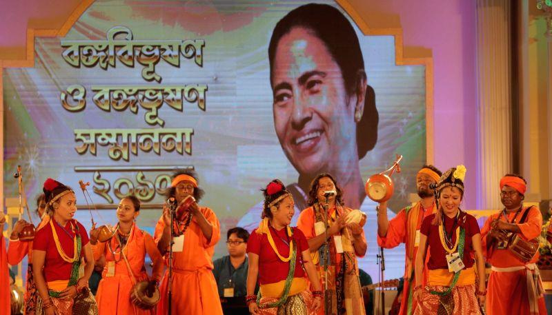 Artists perform during Banga Samman, West Bengal's highest civilian award ceremony in Kolkata on May 20, 2017.