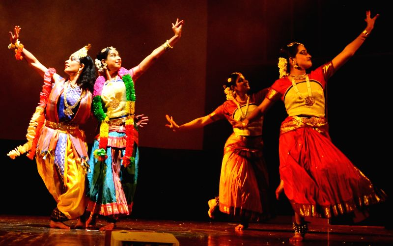 Artists perform during `Krishnamayee Meeraandal` - a dance ballet of Kathak and Bharatanatyam organised by Society for the Upliftment of National Arts of India (SUNAINA) at Stein Auditorium in New ...
