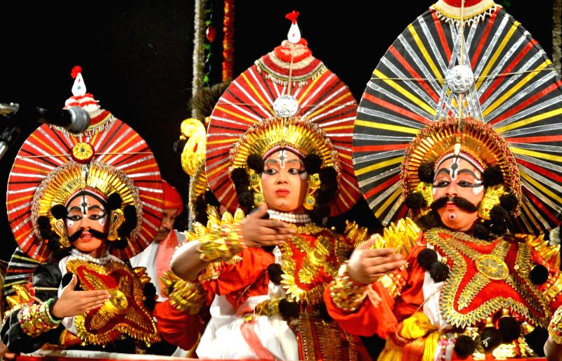 Artists perform Yakshagana organised by Rangastala Yaksha Mitra Koota in Bengaluru, on July 31, 2016.