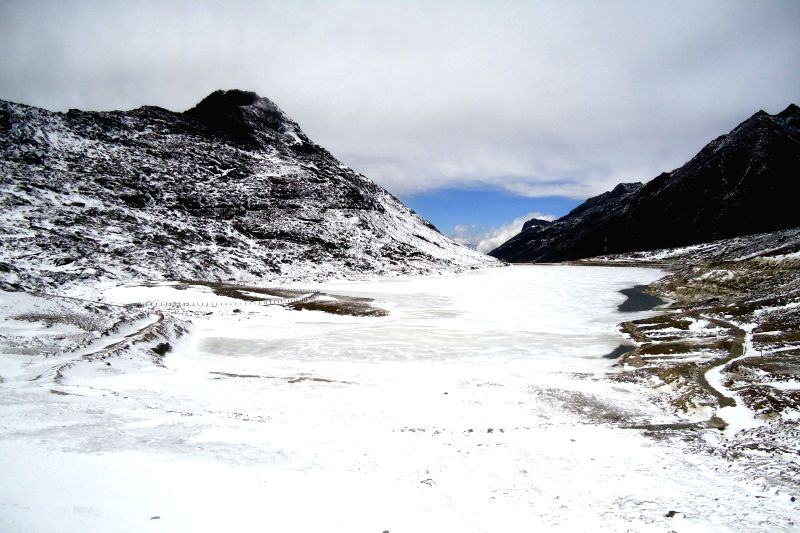 Arunachal Pradesh: A view of snow covered Sela Lake after heavy snowfalls in Arunachal Pradesh.