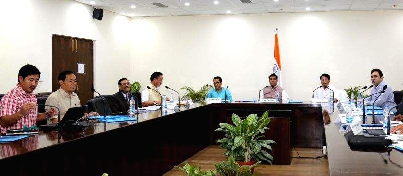 Arunachal Pradesh Chief Minister Pema Khandu along with Deputy Chief Minister Chowna Mein and Agriculture Minister Wangki Lowang during a meeting with Arunachal Pradesh Agriculture ... - Pema Khandu