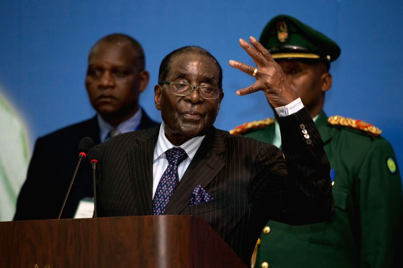 Zimbabwean President Robert Mugabe (front) addresses the opening ceremony of the third Africa-China Young Leaders Forum in Arusha, Tanzania, March 28, 2015. The ...