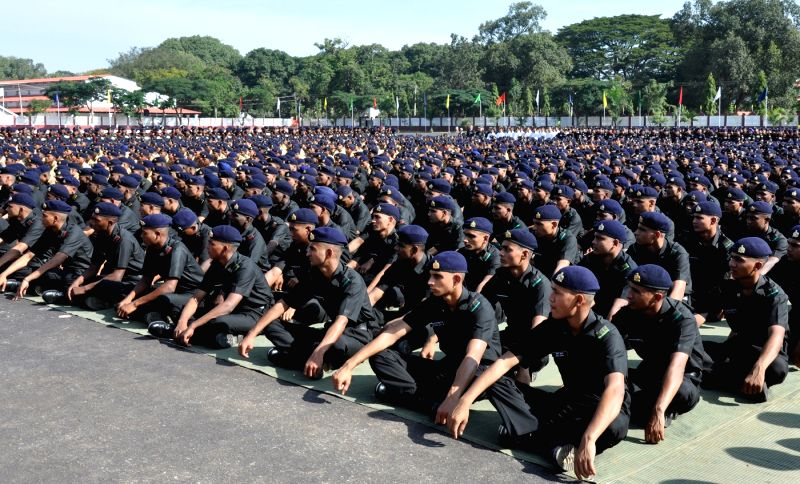 ASC Recruits seen at the Sainik Sammelan during the 10th Reunion and 255th Anniversary of Army Service Corps at Indian Army ASC Centre and College, in Bengaluru on Dec 7, 2015.