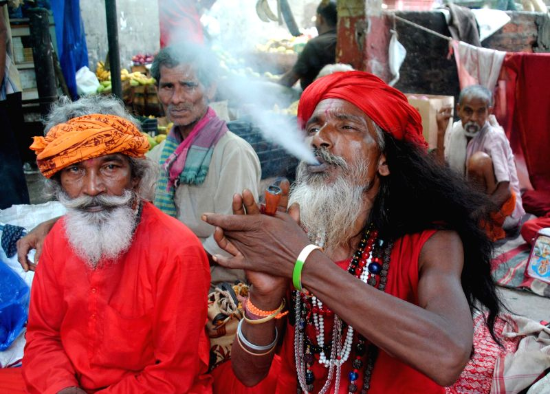 Ascetic at the Kamakhya Temple during the 2nd day of Ambubachi Mela, also known as Ambubasi festival in Guwahati on June 23, 2014.