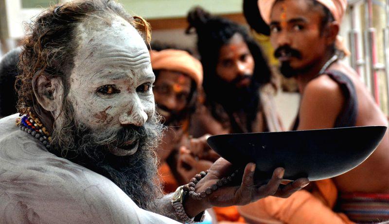 Ascetics at Kamakhya temple during Ambubachi Mela, also known as Ambubasi festival in Guwahati on June 26, 2014.