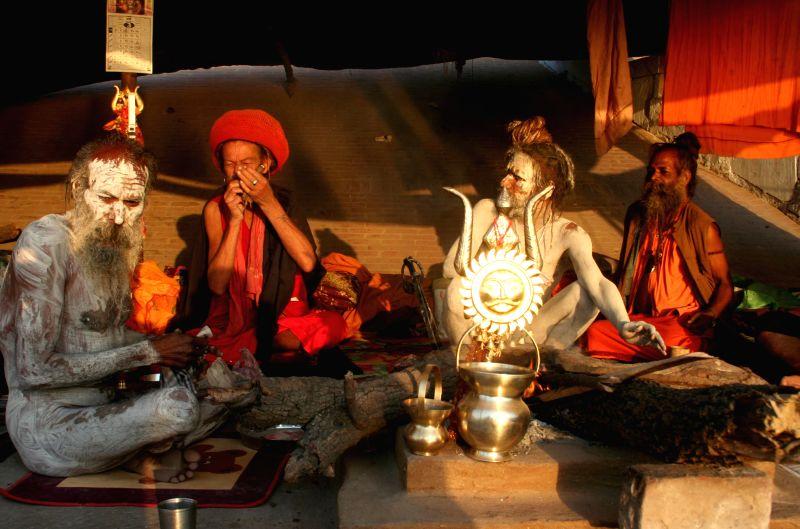 Ascetics in Varanasi after Mahashivratri on Feb 18, 2015.