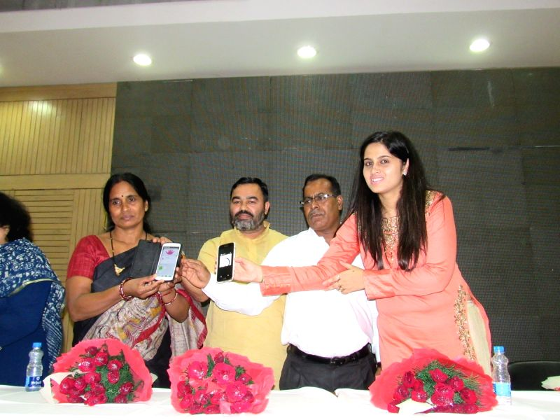 Asha Devi , mother of Nirbhaya launches Safety Ka Power Button - a safety app for women and children in New Delhi, on Aug 9, 2016.