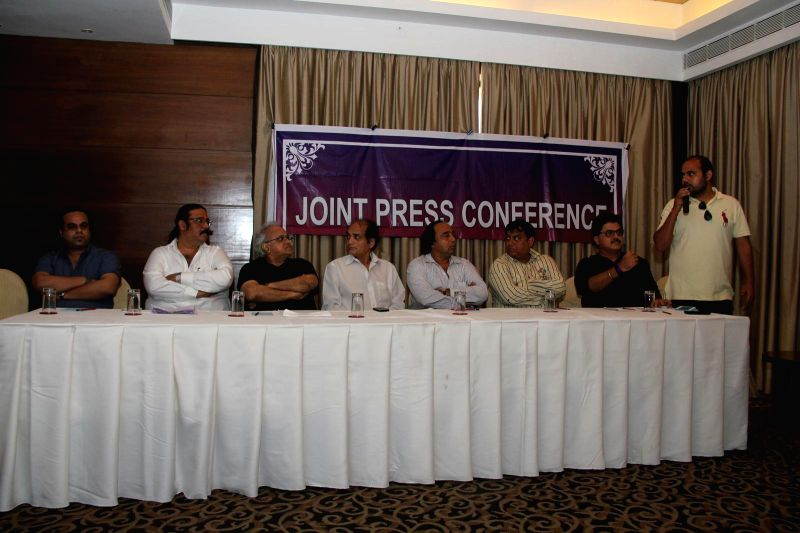 Ashish Rego, Dilip Pithwa, Kamlesh Pandey, Dharmesh Tiwari, Sangram Shirke, Abhay Sinha, Ashok Pandit & Verun Babbar during the press conference for the clarification on the true occurrences in .. - Kamlesh Pandey and Abhay Sinha