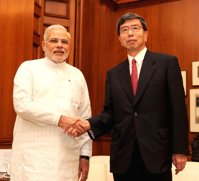 Asian Development Bank (ADB) President Takehiko Nakao calls on Prime Minister Narendra Modi in New Delhi on Aug 27, 2014. - Narendra Modi