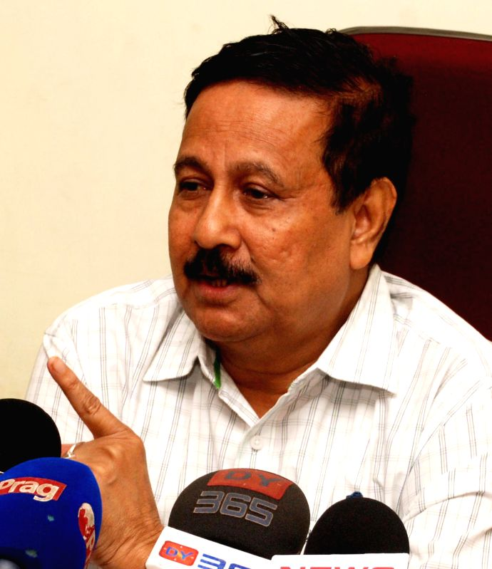 Assam Agriculture Minister Nilamoni Sen addresses a press conference in Guwahati on Sept 3, 2014.