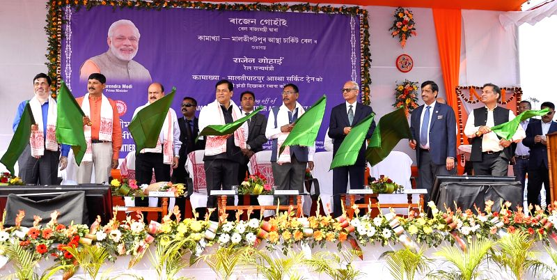 Assam Chief Minister of Assam Sarbananda Sonowal along with Union Minister of State for Railway Rajen Gohain flag off the first-ever Astha Tourist Pilgrimage Train of Indian from Kamakhya ...