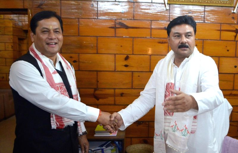 Assam Chief Minister Sarbananda Sonowal congratulates newly appointed Speaker of the Assam Legislative Assembly Ranjit Das after taking charge at Speaker's Office Chamber in Guwahati on ... - Sarbananda Sonowal