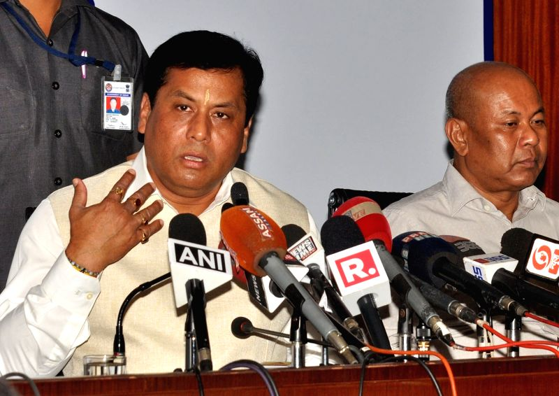 Assam Chief Minister Sarbananda Sonowal addresses a press conference in Guwahati on May 24, 2017. - Sarbananda Sonowal