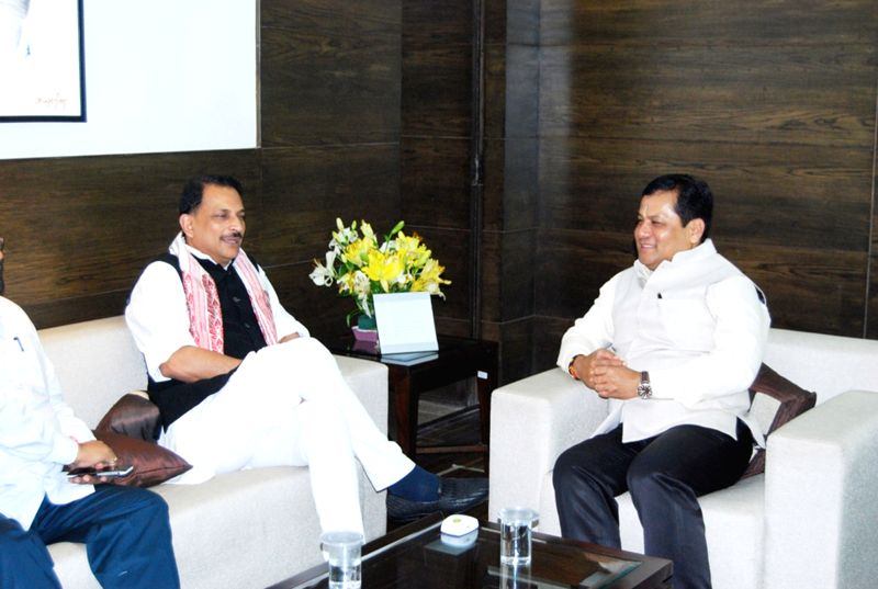 Assam Chief Minister Sarbananda Sonowal calls on Union Minister Rajiv Pratap Rudy in New Delhi, on Aug 5, 2016. - Sarbananda Sonowal