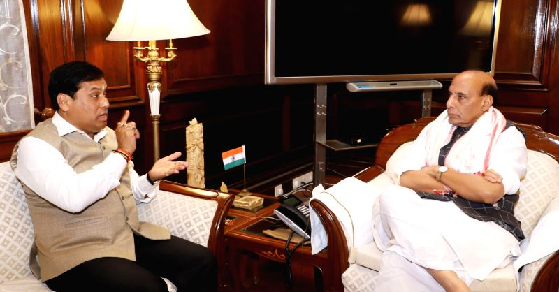 Assam Chief Minister Sarbananda Sonowal calls on Union Home Minister Rajnath Singh, in New Delhi on April 12, 2018.