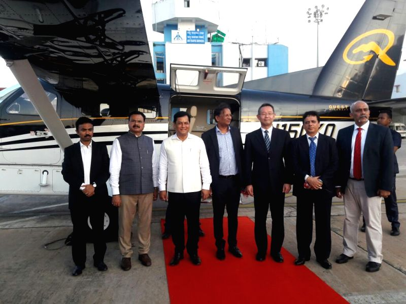 Assam Chief Minister Sarbananda Sonowal during a programme organised to witnesses the demonstration of an amphibious aircraft designed by Setouchi Holdings of Japan at the Lokapriya ... - Sarbananda Sonowal