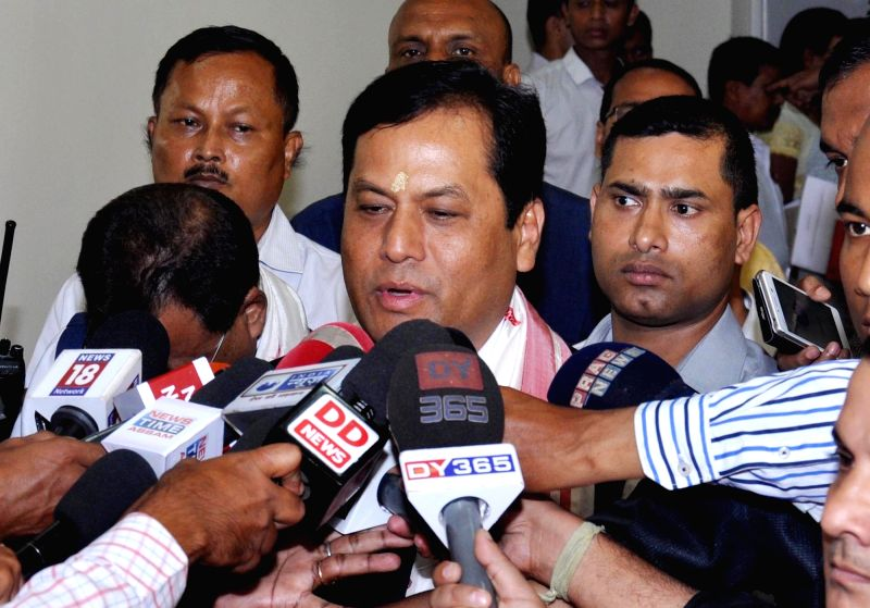 Assam Chief Minister Sarbananda Sonowal talks to press at state assembly in Guwahati, on June 1, 2016. - Sarbananda Sonowal