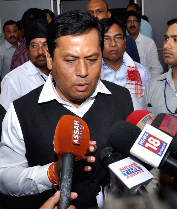 Assam Chief Minister Sarbananda Sonowal talks to press in Guwahati in June 3, 2016. - Sarbananda Sonowal