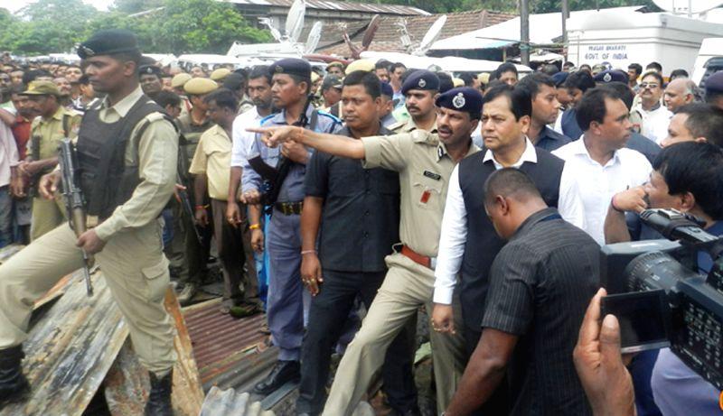 Assam Chief Minister Sarbananda Sonowal visits the site of Kokrajhar shooting on Aug 7, 2016. - Sarbananda Sonowal