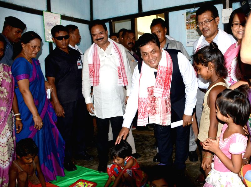 Assam Chief Minister Sarbananda Sonowal visits a relief camp in flood hit Goalpara of Assam on July 31, 2016. - Sarbananda Sonowal