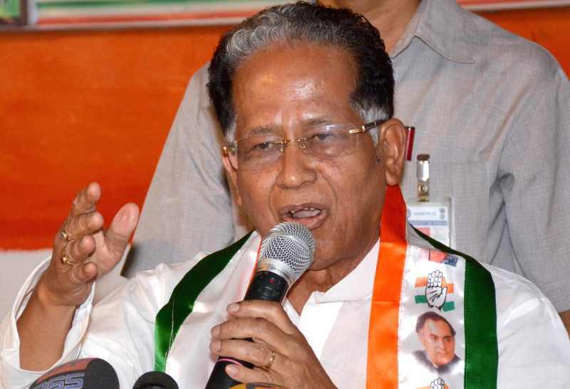 Assam Chief Minister Tarun Gogoi addresses a press conference regarding the Third phase of 2014 Lok Sabha Polls in Assam, at Rajiv Bhawan in Guwahati on April 13, 2014.