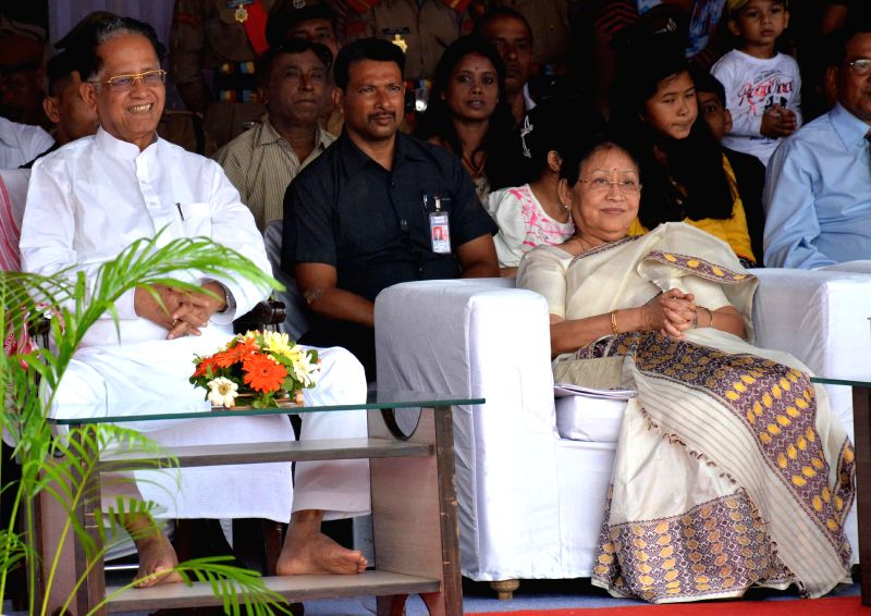 Assam Chief Minister Tarun Gogoi and his wife Dolly Gogoi during Independence Day celebrations at Veterinary Field in Guwahati on Aug 15, 2014.