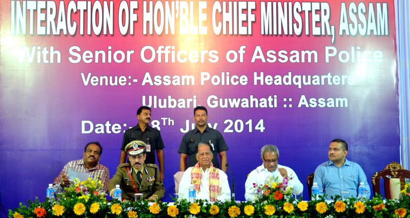 Assam Chief Minister Tarun Gogoi during a programme at state police headquarters at Ulubari in Guwahati on July 18, 2014. - Tarun Gogoi