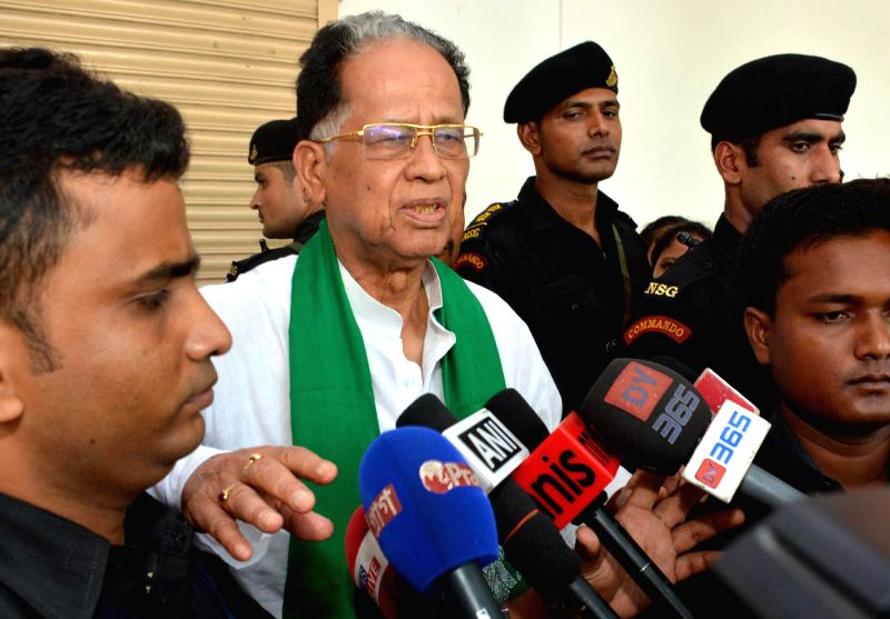Assam Chief Minister Tarun Gogoi talks to media in Guwahati on July 22, 2014.