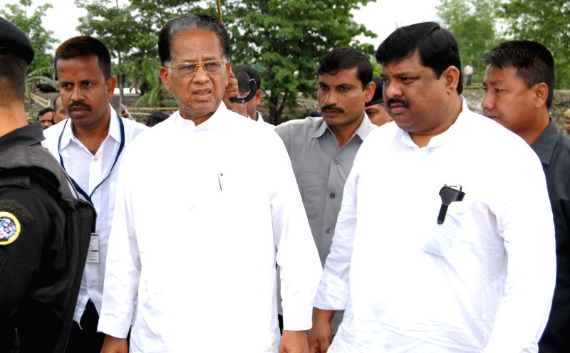 Assam Chief Minister Tarun Gogoi visits Narayanguri Relief Camp setup to provide shelter to those who fled their villages after recent violence in Bodoland Territorial Area Districts (BTAD), in Baksa