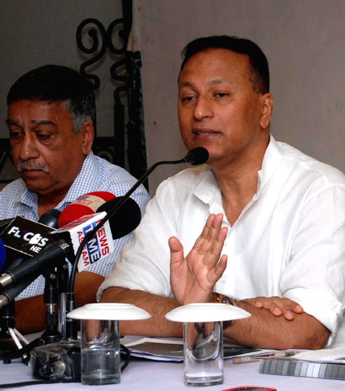:Assam Education and Power Minister Pradyut Bordoloi addresses a press conference in Guwahati, on Sept. 29, 2014. (Photo: IANS).