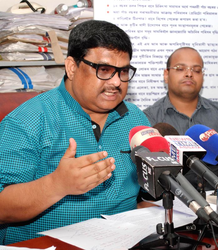 Assam Forest, Panchayat and Rural Development Minister Rockybul Hussain during a press conference in Guwahati on Sept 2, 2014.