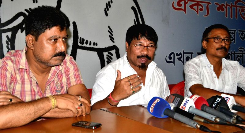 Assam Gana Parishad working president Atul Bora addresses a press conference in Guwahati on July 1, 2014.