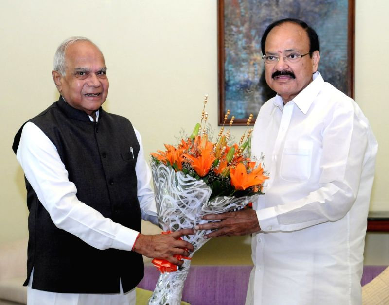 Assam Governor Banwarilal Purohit calls on Vice President M. Venkaiah Naidu in New Delhi on Aug 12, 2017. - M. Venkaiah Naidu
